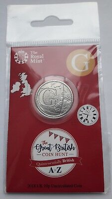 2018 Royal Mint 10P Ten Letter G - Greenwich Mean Time Coin Hunt 1St Strike Pack