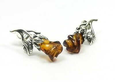 NATURAL BALTIC AMBER STERLING SILVER 925 Earrings Rose Stud Certified +BOX