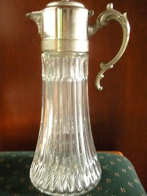 Fb Rogers Italy Glass & Silver-Plate Carafe/Wine Decanter W/Handle