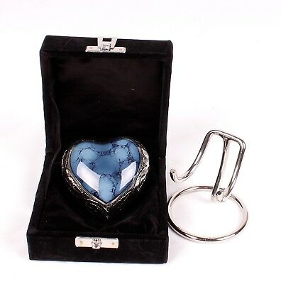 Mini Heart Urn for Ashes,Cremation memorial Small Keepsake Blue Heart Stand Box