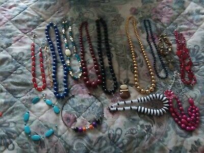 Vintage Necklaces Estate Collection 15 pc Lot Jewelry Charms retro Costume Beads