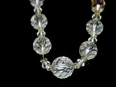 Vintage Faceted Cut Clear Glass Crystal Beads Necklace #1