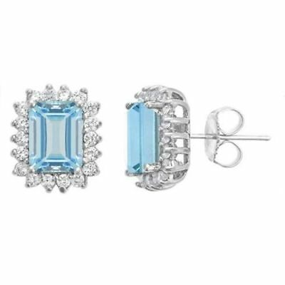 0.80Ct Diamond Created Square Round Halo Stud Earrings 14k White Gold Plated