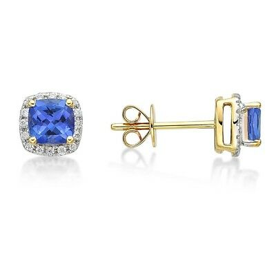 Blue Diamond Created Square Round Halo Stud Earrings 14k White Gold Plated HOT