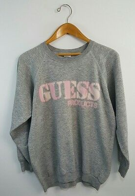 Vintage 80s GUESS Products Crewneck Women's Sweatshirt Size L Very Thin Soft