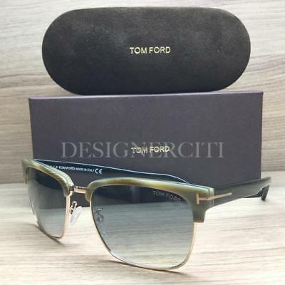 2095aba31c4f8 Tom Ford River TF367 367 Sunglasses Grey Green Horn Black 60B Authentic 57mm