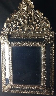 Antique French Repousse Mirror Ornate Brass 22 Inches High 19th Century