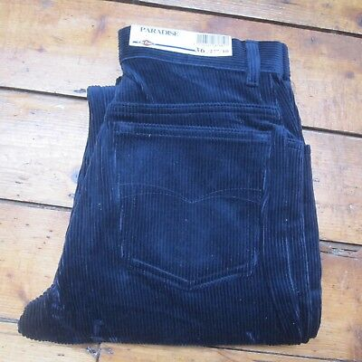 High Waisted Womens Cord Jeans Trousers Lee Cooper Vintage 80s NEW Navy Blue 27""