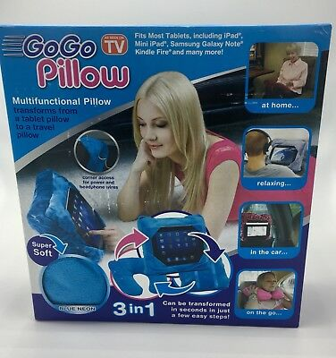 AS SEEN ON TV GoGo Pillow Tablet Holder, Neon Blue - $17 85 | PicClick