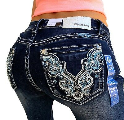 GRACE IN LA JEANS Mid Rise Easy Skinny Embroidered Jean 27 28 29 30 31 32 33 34