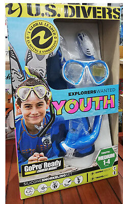 Us Divers Snorkel Set Youth Snorkeling Set Compatible With Gopro Foot Size 1-4
