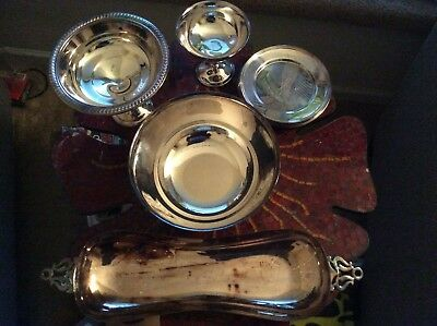 Silver-plated items lot with plates, relish dish, bowl, candy dishes