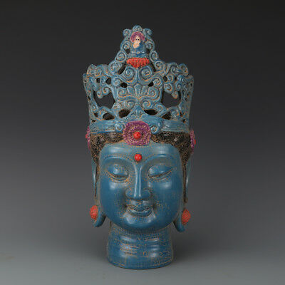 China antique Porcelain Song chai kiln blue red Beauty Buddha head Statues