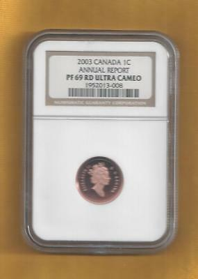 "2003 Canada One Cent Pf 69 Rd Ultra Cameo Ngc  ""annual Report"""