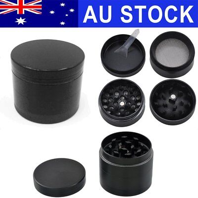 AU 4 Piece Layers Metal Tobacco Crusher Hand Muller Smoke Herbal Herb Grinder