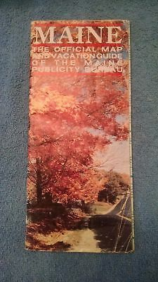vintage Road Map Maine ME Official Vacation Guide