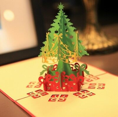 3D Pop Up Card Christmas Tree Greeting Baby Gift Holiday Happy New Hot Cards