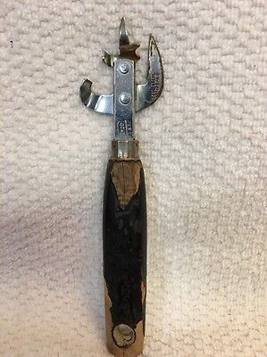 Vintage 1950's Ekco Bottle Can Opener Wood Handle Usa