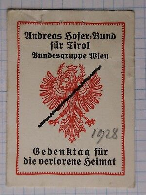 Austria WWl Day of Remembrance Lost Homeland memorial Poster Stamp tag card 1928