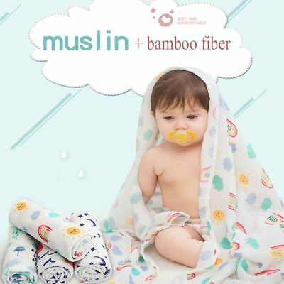 Infant Baby Kids Muslin Bamboo Swaddle Soft Sleeping Blanket Wrap Bath Towel