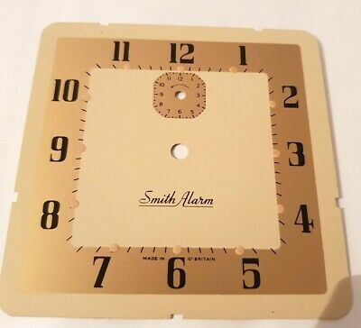 SMITHS ALARM CLOCK DIAL SQUAR  gold and white/ Face X 1 VINTAGE OLD NEW STOCK 4`