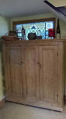 Antique Victorian large two-door pine cupboard pantry shelves cabinet old rustic