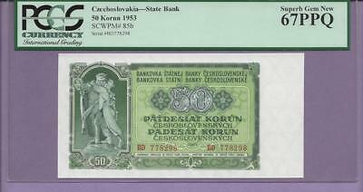 "Czechoslovakia-State Bank 1953 Pick # 85b  PCGS PPQ 67  ""SCROLL DOWN FOR SCANS"""