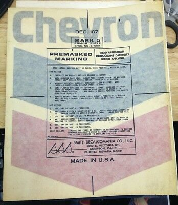 "VINTAGE Unused CHEVRON gas pump decal 9"" x 12"""
