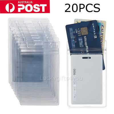 20x Quality plastic ID CARD HOLDER POUCH clear PVC lanyard work BADGE Zip Lock H