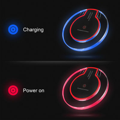 Clear Qi Wireless Charger Charging Pad Samsung Galaxy Note 8 S8 iPhone X max xr