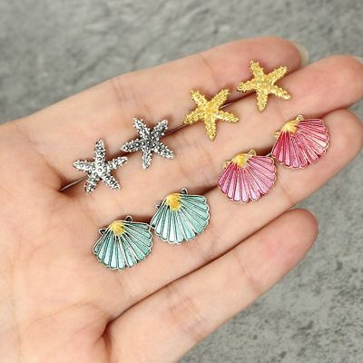 4 Pairs Women's Starfish Shell Multicolored Stud Earrings Summer Beach Jewelry--