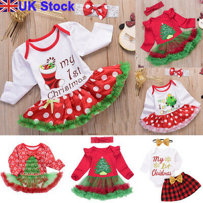 UK Kids Newborn Baby Girls Christmas Clothes Gift Santa Tutu Skirt Dress Outfits