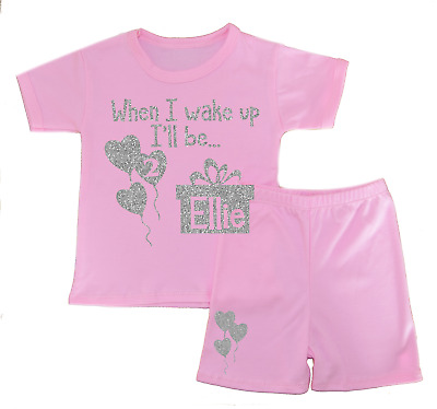 Personalised When I Wake Up Two Shorts Pyjamas Girl's Pjs Birthday Gifts Glitter
