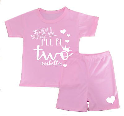 Personalised When I Wake Up.. 2 Shorts Pyjamas Girl's Pjs Birthday Gifts Second