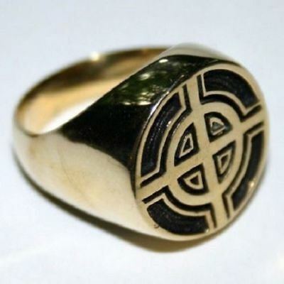 Bronze men`s ring modern biker celtic cross irish design sizes 8-12