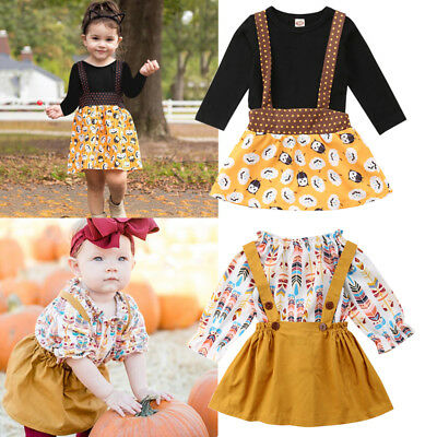 US Toddler Kid Baby Girl Feather Outfit Clothes T-shirts Tops+Braces Skirt 2pcs