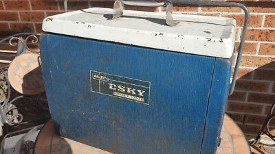 Vintage Blue Malleys Esky With Spare Parts Lid Rubber Handle & Water Plug