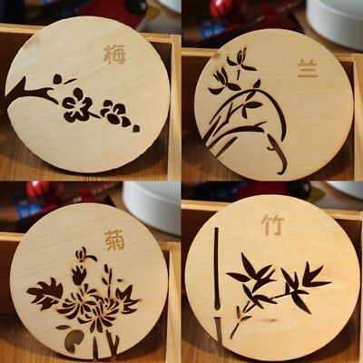 Chinoiserie Carved Wooden Flower Pattern Classical  Heat Insulation Cup Mat 1pc