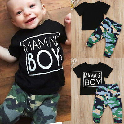 2pcs Newborn Toddler Baby Boy Clothes T-shirt Tops+Camouflage Pants Outfits Set