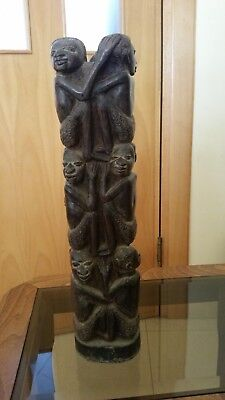 Antique African Tree Of Life Ebony Makonde Carved Art Wood Sculpture