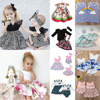AU Princess Toddler Baby Girl Skater Romper Dress Kid Floral Cotton Party Dress