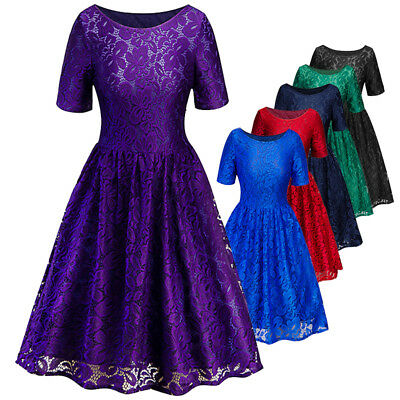 Women's Ladies 50s Style Vintage Lace Retro Rockabilly Evening Party Swing Dress