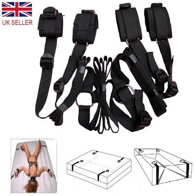 *UK Seller* Under Bed Restraints Mattress Bondage Hand Leg Cuffs Sex Toy Straps
