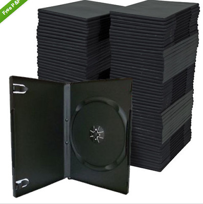 50 x Single Black 14mm Quality CD / DVD Cover Cases - Standard Size DVD case AU