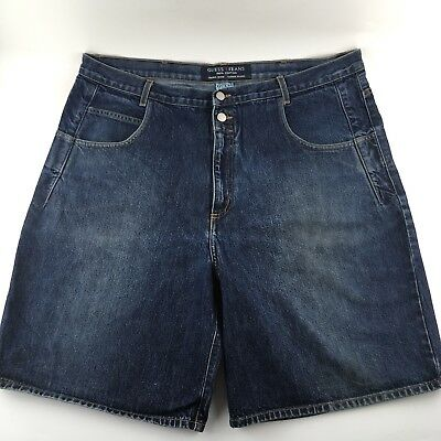 """Vintage 80s 90s GUESS Mens 42"""" Baggy Jean Shorts Green Triangle Made in USA"""