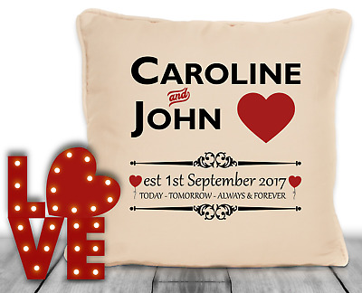 Personalised Gift For Wedding Anniversary Today Tomorrow Always Design Cushion