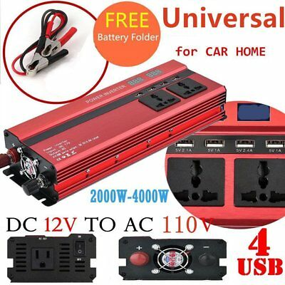 2000W 4000W 12V to 110V Car Power Converter Inverter Charger 4USB Digital LCD UZ