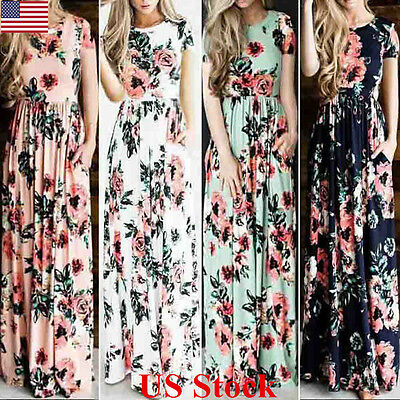 US Womens Floral Holiday Long Dress Ladies Summer Evening Party Prom Maxi Dress