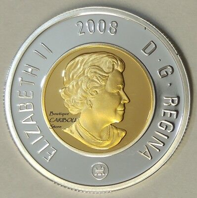 2008 Canada Silver Proof Toonie, Gold Plated