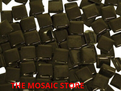 Black Crystal Glass Mosaic Tiles 1cm - Supplies Art Craft